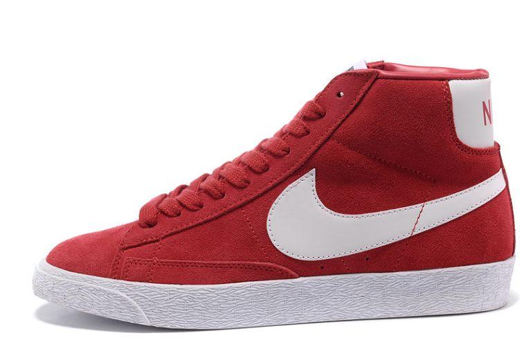 Tpwsc2 Nike Blazer Hautes Femme Premium Vintage Daim Gym Rouge Blanc