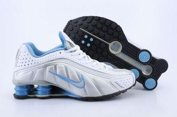 innovative design 8bac0 26efe Chaussures Air Shox R4 Pas Cher Femme Argenté   Bleu   Blanc