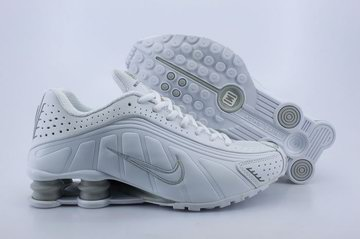 wholesale dealer 5589c 3523a Chaussures Air Shox R4 Pas Cher Femme Blanc   Gris